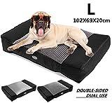 Pecute Camas para Perros Grandes, Colchón Perro Lavable Suave, 102X69X20cm Almohadas para Camas para Perros Gris (L, Negro)
