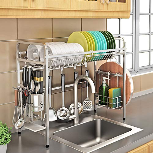 ZYH-shelf Dish Drainer Rack Halter Edelstahl Kitchen Rack Sink Dish Rack Küchenbedarf Lagerregal Utensilien Halter (Single Slot Single Layer)