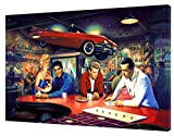 Bild auf Holzrahmen, Motiv 'Abend bei Rick 'Selvis Pressley, Marilyn Monroe James Dean Humrey Bogart', 30 x 20 inch -18mm depth