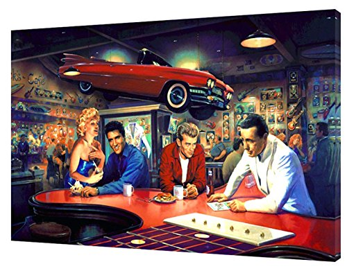 Evening at Rick 'selvis Presley, Marilyn Monroe James Dean Humprey Bogart Foto auf gerahmter Leinwand Wand Art, 24 x 16 inch -38mm depth 24 X 16 Foto