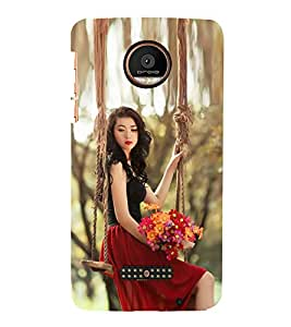 Fiobs Designer Back Case Cover for Motorola Moto Z Force :: Motorola Moto Z Force Droid for USA (Girl Lady Beautiful Nature Woods )