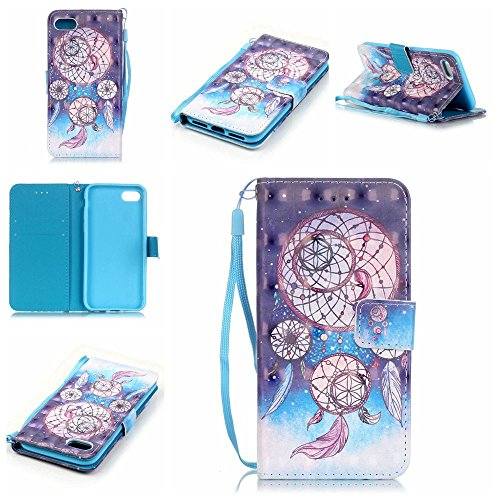 Qiaogle Telefon Case - PU Leder Wallet Schutzhülle Case für Apple iPod Touch 5 / 6 (4.0 Zoll) - YB16 / Dream Catcher + Colorful Halo (Halo 4 Wallet)