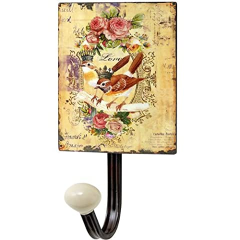 Large Vintage Style Chintz Style Bird With Crown Wall Hook