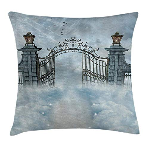 RAINNY Fantasy Throw Pillow Cushion Cover, Fantasy Landscape with an Open Door of Gate of Castle Over The Clouds with a Princess, Decorative Square Accent Pillow Case, 18 X 18 inches, Gray (Monster Princess Truck Halloween)
