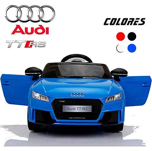 BC Babycoches-Coche electrico 12 V para niños, Licencia Oficial Audi TT RS, Mando Parental, monoplaza, Equipo Audio, Color Azul