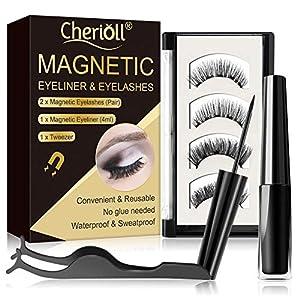 Magnetische Wimpern, Magnetic Eyeliner, 3D Künstliche Magnetische Wimpern, Wimpern Mit Wasserdichtem Langlebigem, 2er Set Magnet Wimpern