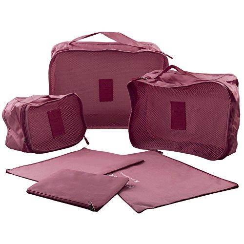 Lot de 6organiseurs d'emballage de voyage en nylon à linge Cube Sac en sac de voyage Ensemble de plastification de compression rouge vin
