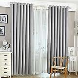 Domybest Baumwolle Leinen Verdunkelungsvorhänge Vorhang Wohnzimmer Schlafzimmer (grau)