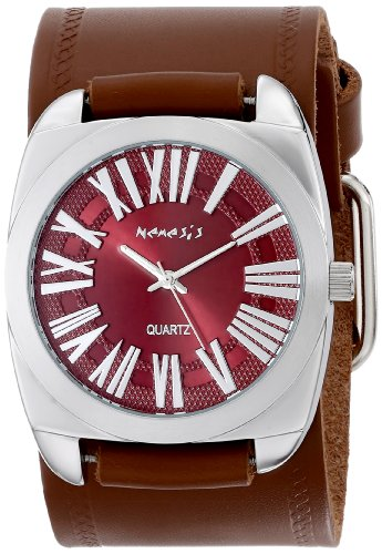 Nemesis Women's BHST098B Brown Collection Retro Roman Leather Band Watch