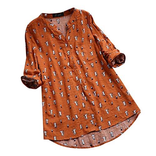 iHENGH Damen Bequem Mantel Lässig Mode Jacke Frauen Frauen mit Langen Ärmeln Vintage Floral Print Patchwork Bluse Spitze Splicing Tops(Orange, 5XL) (Top-gun-halloween-kostüm Damen Für)