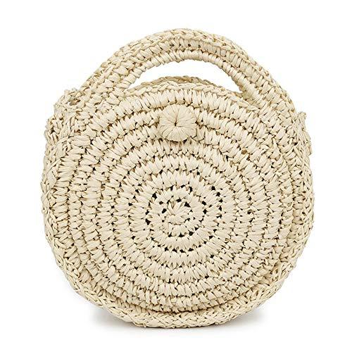 LFGCL Bags womenBeach Bag umhängetasche Holiday Handmade Straw Bag Weaving small Round Bag, Beige