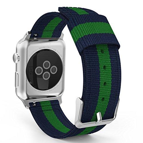 MoKo Correa para Apple Watch 38mm - Adjustable Reemplazo Band Deportiva con Fino Tejido de Nilón para Apple Watch 38mm SERIES 1 / 2 / 3?2015 & 2016 & 2017& Nike+ Todos los modelo , Azul&Verde