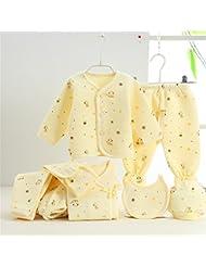 SHISHANG Caja de regalo del bebé Sistema 100% puro del bebé de la luna llena del algodón determinado fijado (sistema de 7 pedazos) Muchacha del muchacho cuatro estaciones para el bebé 0-1-Year-old , white yellow