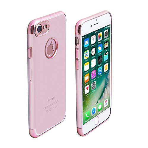 iProtect Apple iPhone 7, iPhone 8 TPU Case Schutzhülle Transparent mit Ränder in Rosegold Hardcase Transparent Rosegold