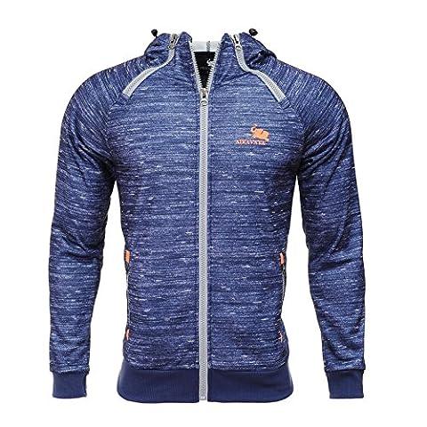 Adult Apparel Flex Fleece Zip Up Hoody Casual Gym Sweatshirt Royal Blue S