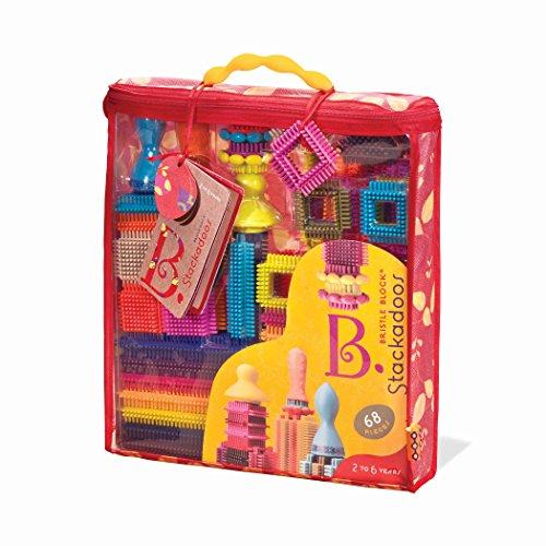 B. Toys Blocchi di Setole Stackadoos 68 Blocchi Giocattoli Un Sacchetto BPA Free STEM Giocattoli Costruzioni per Bambini 2 Anni +
