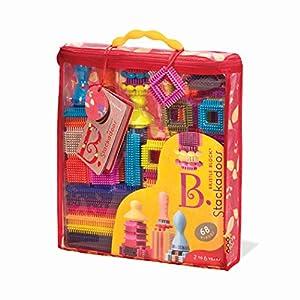 B. Toys - Bloques de cerdas Stackadoos - 68 Bloques de Juguetes en una Bolsa de Almacenamiento - Sin BPA Stem Juguetes Bloques de construcción para niños 2 años +