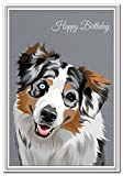 Happy Birthday card - Unique Australian Shepherd dog portrait - Exclusive Vector Artwork - Premium quality - Superior printing - Special Keepsake wishes and greetings - Pet Lovers - Dogs and Animals - Send with love - Buy with confidence