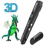 3D Stift, Tecboss 3D Drucker Stift für Kinder mit LED-Anzeige, USB-Netzteil und 3 Bonus 1,75 mm PLA Filament Refills-Schwarz