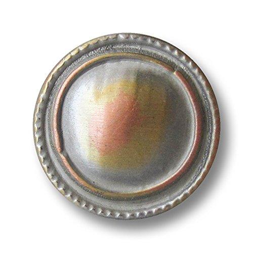 Knopfparadies - 8er Set leicht gewöblte, wie selbstgemacht wirkende, silberfarb. Metall Ösen Knöpfe mit gold- und kupferfarbenen Akzenten und unregelmäßig rundem Ring und gezacktem Rand / tricolor: silberfarben, goldfarben, kupferfarben / Metallknöpfe / Ø ca. 20mm -