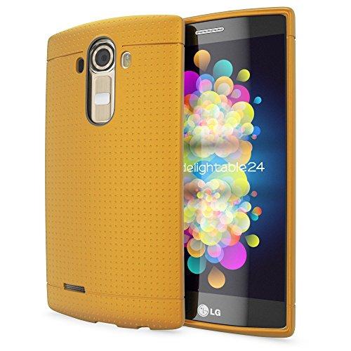 NALIA Handyhülle kompatibel mit LG G4, Ultra-Slim Case Softcover, Dünne Punkte Schutzhülle, perforierte Etui Handy-Tasche Back-Cover Bumper, TPU Smart-Phone Silikonhülle Hülle - Mesh Champagner Gold