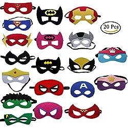 UClever 20 Piezas Máscaras de Superhéroe Máscara de Fieltro Máscaras de Ojos Máscaras Medias Máscaras de Fiesta con muñequeras para Fiesta