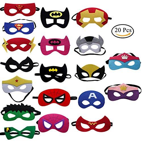 Uclever 20 pezzi maschere per bambini maschere feltro con confortevole fascia