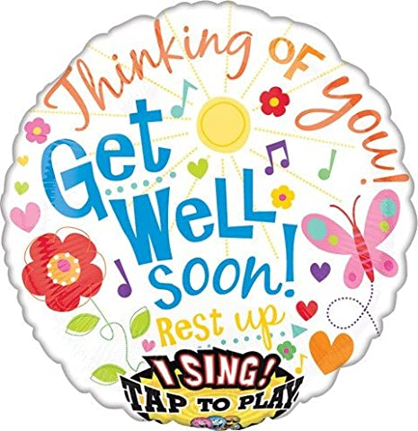 Get Well Soon Singing Balloon 28 inch Mylar Balloons 28