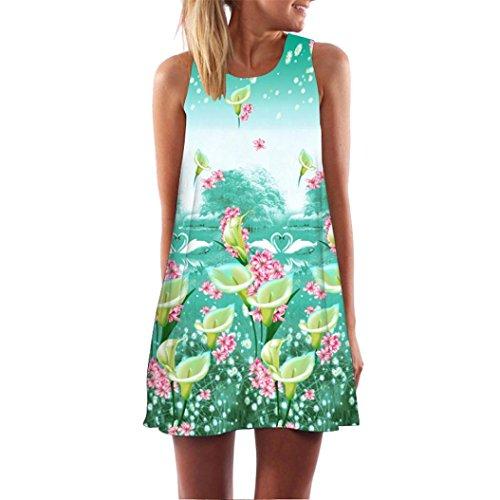 SEWORLD 2018 Damen Sommer Mode Frauen Vintage Boho Frauen Lose Sommer D Blumen Drucken O-Ausschnitt Ärmellose 3A-Line Bohe Camis Tank Über dem Knie Party Minikleid (A-a-Grün,XXL)