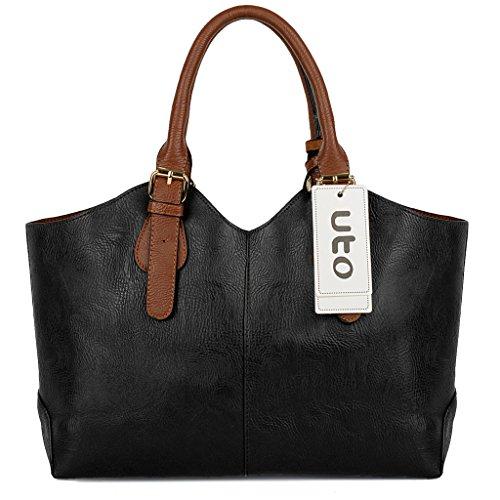 UTO Damen Handtasche Set 3 Stücke Tasche PU Leder Shopper klein Schultertasche Geldbörse Trageband blau schwarz