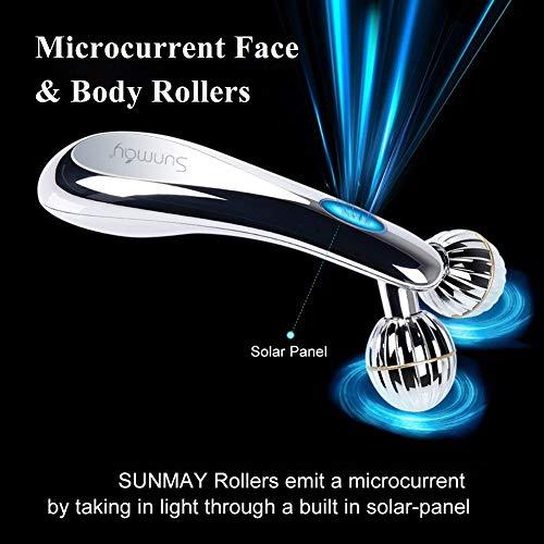 SUNMAY 3D Gesicht Roller Massage Gesichtslifting Massager – Gesichtsroller mit Mikrostrom für Gesichtsmassage, Hautstraffung, Doppelkinn Entfernen – Massagegerät Massageroller für Gesicht, Körper - 3