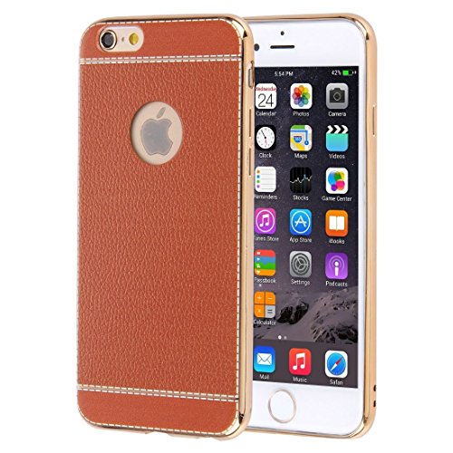 Für iPhone 6 Plus / 6s Plus, 3D Litchi Texture Soft TPU Schutzhülle DEXING ( Color : Red ) Brown