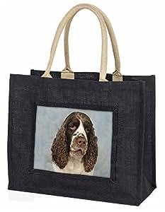 Springerspaniel-Hund Große schwarze Jute -Einkaufstasche Weihnachtsgeschenk
