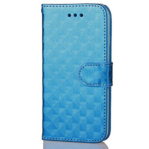 Voguecase Pour Apple iPhone 7 4,7 Coque, Étui en cuir synthétique chic avec fonction support pratique pour iPhone 7 4,7 (ZG-Rose)de Gratuit stylet l'écran aléatoire universelle Motif carré-Bleu