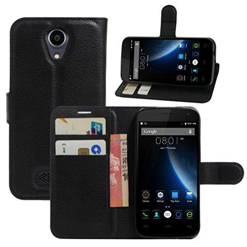 HualuBro Doogee X3 Hülle, Premium PU Leder Wallet Flip Handy Schutzhülle Tasche Case Cover mit Karten Slot für Doogee X3 Smartphone (Schwarz)