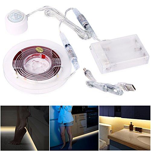 Lunsy Bewegung Sensor Bett Licht, Flexible LED Streifenlicht, Auto Ein/Aus Bewegungsmelder Nachttischlampe, Bewegung aktivierte LED-Lichtleiste (ein Sensor)