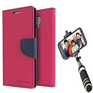 Aart Fancy Diary Card Wallet Flip Case Back Cover For Lenovo A6000 - (Pink) + Mini Aux Wired Fashionable Selfie Stick Compatible for all Mobiles Phones By Aart Store