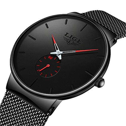 LIGE Herren Uhren Klassische Mode Analoge Quarzuhr Schwarz Sport wasserdichte Armbanduhr Einfache Schlanke Rote Uhr