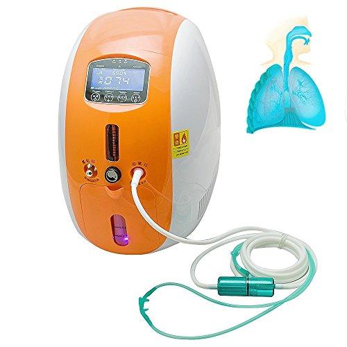 Enshey SauerstoffKonzentrator Tragbare Full Intelligent Home Sauerstoff Generator Schöpfer Negative Ionen 2L mit Vernebler Arbeit mobil kompakt Silent (Orange)