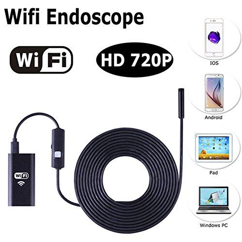 myfei Wireless Endoskop Kamera, Tagfahrlicht WiFi 1m wasserdicht Rohr Snake, Endoskop für Android iPhone PC (Tv-bildschirm Gebogene Großen)