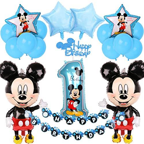 Mickey Mouse 1. Geburtstag Dekorationen für Jungen mit blauen Mickey Happy Birthday Banner Cake Topper