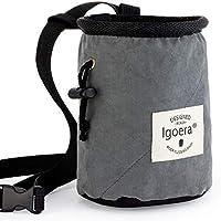 Igoera Premium Chalkbag, Magnesiabeutel (grau) | zum Klettern und Bouldern | Profiqualität | inkl. Gurt und Karabiner | Staubdicht