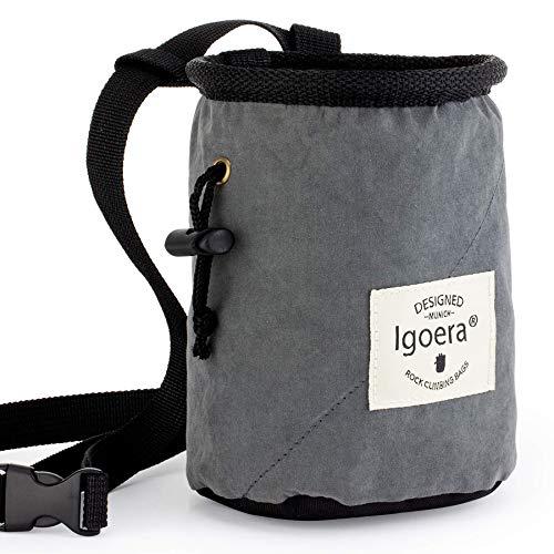 Igoera Premium Chalkbag, Magnesiabeutel (grau) | zum Klettern und Bouldern | Profiqualität | inkl. Gurt und Karabiner | Staubdicht, Color_map_Amazon:Grau