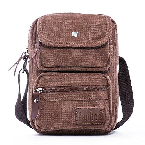 Kleine Umhängetasche, Canvas Schultertasche Klein für Reise Schule Handy Mini Flugbeutel iPad Mini Umhänge Tasche, Braun Mini-tasche Für Männer