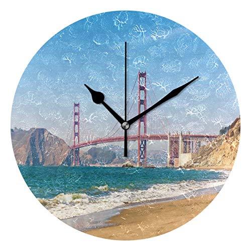 LISUMAL Vista panoramica di Golden Gate Bridge San Francisco Coastline Nature Seascape,Sveglia Rotonda Senza Scala da 25 cm per Uso Domestico, Parete/Display, Stile retrò Rustico colorato Chic