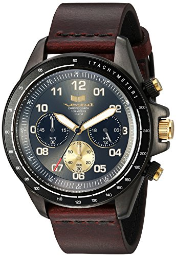 Vestal 'ZR2' Quartz Stainless Steel and Leather Casual Watch, Color:Brown (Model: ZR243L27.CVBK)