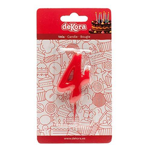 Dekora-345175 Vela de Cumpleaños Numero 4, Color rojo, Tradicionales (345175