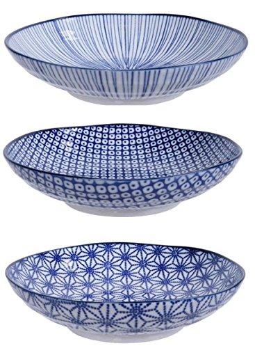 Tokyo Design Studio, 3 Assiette en porcelaine pour nouilles, Diamètre 21cm