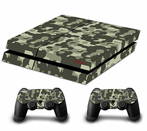 Camouflage Pleins Faceplates Skin Sticker Pour Console PS4 x 1 et le manette x 2 (brown)