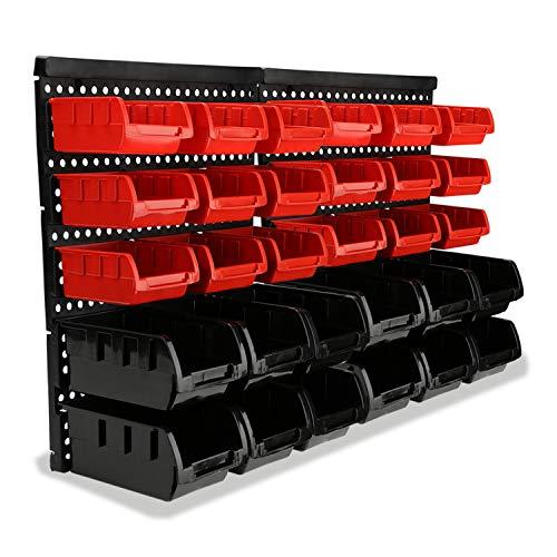 wolketon Wandregal mit Stapelboxen Schüttenregal extra starke Sichtlagerkästen Regal erweiterbar Und Stapelbox Geeignet für Werkstattregal Lagerregal Kleinteilemagazin (30 Stapelboxen)